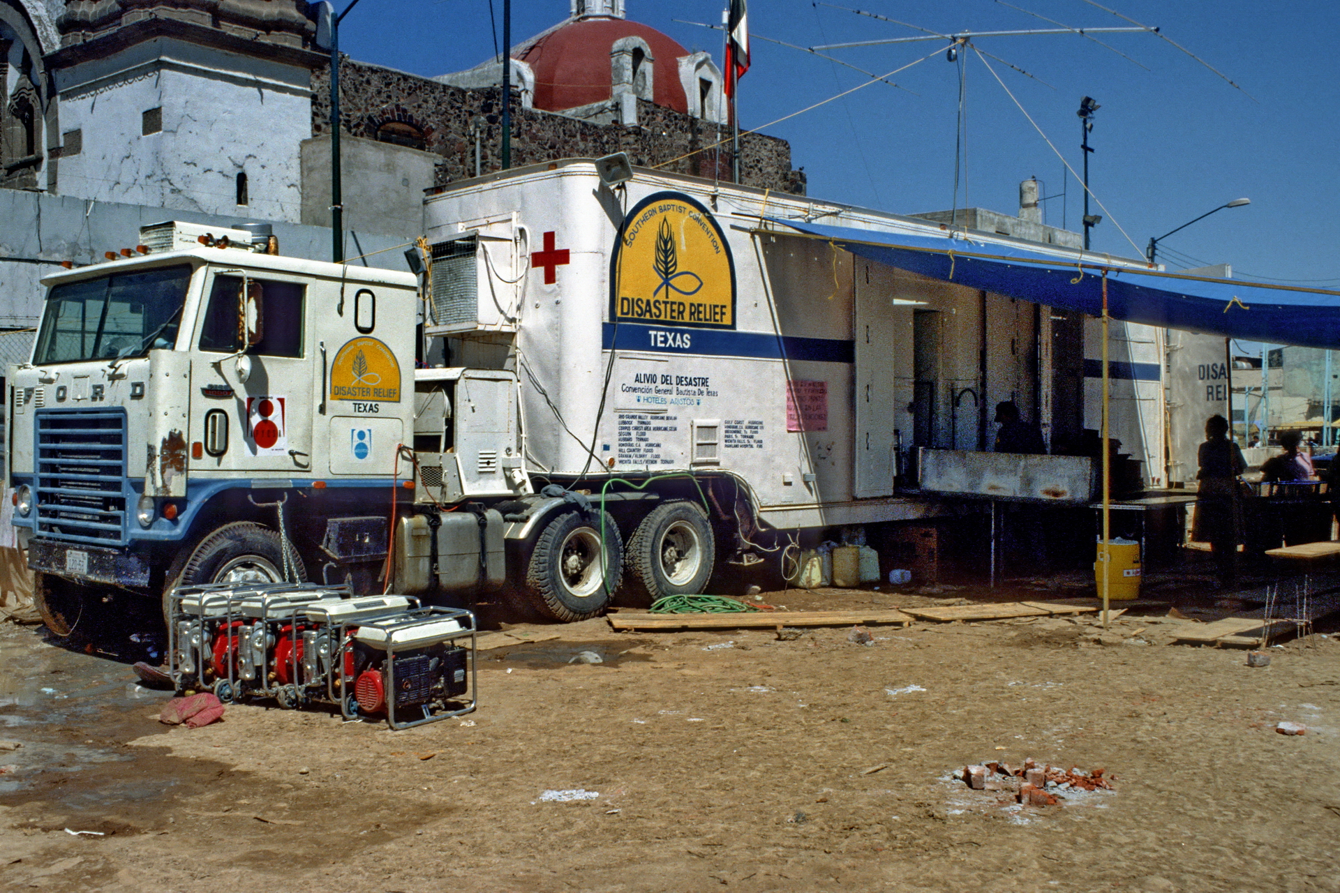 Texas Baptist Men's Disaster Relief mobile kitchen set up in the soccer field of the community center in the Tepito barrio