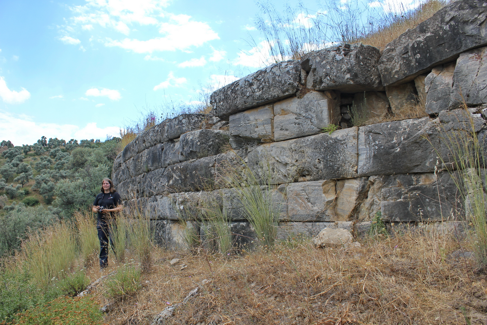Stacey at the circuit wall of the Belevi Tumulus