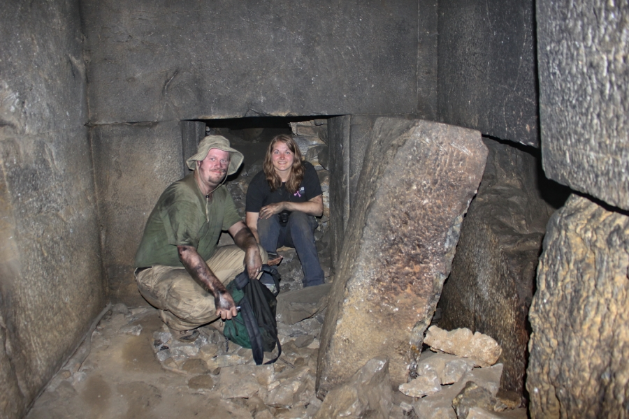 Shane and Stacey at the anteroom before the first burial chamber (photo © Daniel C Browning Jr)