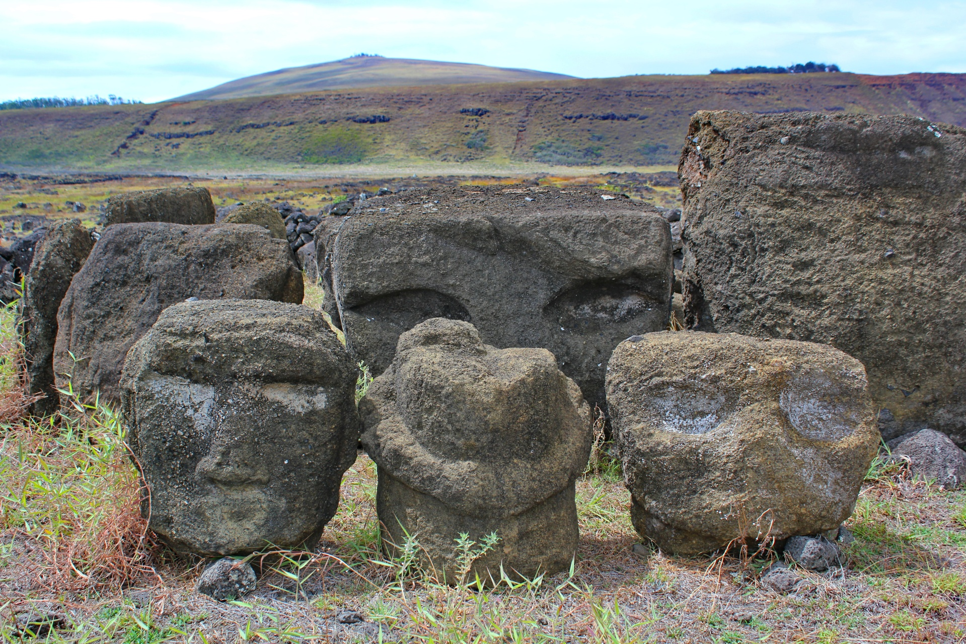 Tongariki: older Moai fragments from Ahu platform